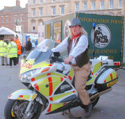 Jethro Tool ready for action on the Freewheelers Emergency Voluntary Service bike at the Bridgwater Carnival (3 Nov 2006)