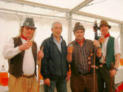 The Mangledwurzels with Mr Chaplin of Gaymers Cider judging the farmhouse ciders at the Mid Somerset Show, Shepton Mallet (20 Aug 2006)