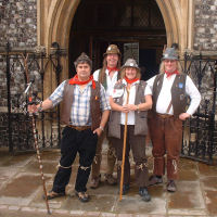The Mangledwurzels joined by Rosie Russett outside St. Andrews' Hall, home of The Norwich Cider Festival (29 Jun 2007)