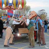 'Who filled Chitty Chitty Bang Bang up with unleaded?' The Mangledwurzels leaving Cadbury Garden Centre in Congresbury (17 Nov 2007)