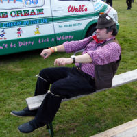 Hedge Cutter summoned from beyond the grave by the arrival of the ice cream van at the Alton Show in Hampshire (6/7/8)
