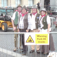 The Mangledwurzels posing with Rosie Russett after their set at the EDF Energy Bristol Harbour Festival (2 Aug 2008)