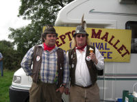 Hedge and Jethro eating ice creams on the Shepton Mallet Carnival Committee stall at the Mid-Somerset Show (Aug 2009)