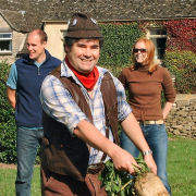 Hedge Cutter about to hurl the mangold at the Annual Mangold Hurling Championships at Sherston, Wiltshire (7 Oct 2006)