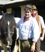Hedge and Seth alongside a cob at the Wellow Trekking Centre